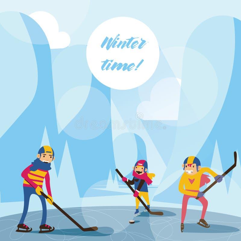 与愉快的家庭的冬天场面在打曲棍球的湖的山 导航在平的样式画的蓝色的例证 皇族释放例证