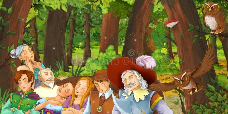 与愉快的少女和男孩在森林里遇到对猫头鹰飞行的王子和公主和皇家人群的动画片场面 向量例证