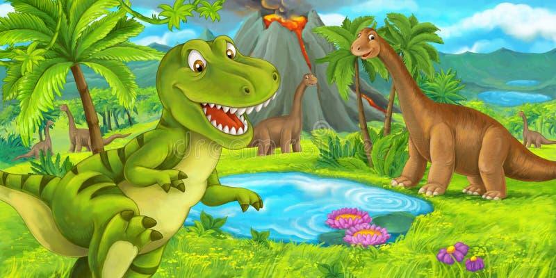 与愉快的恐龙暴龙rex赛跑的动画片在火山-孩子的例证附近的场面和梁龙 库存例证