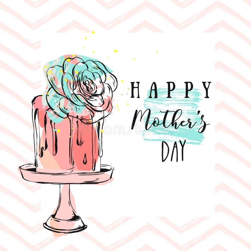 与愉快的母亲节书法的手拉的传染媒介摘要在立场的贺卡和蛋糕与多汁花,之字形 库存例证