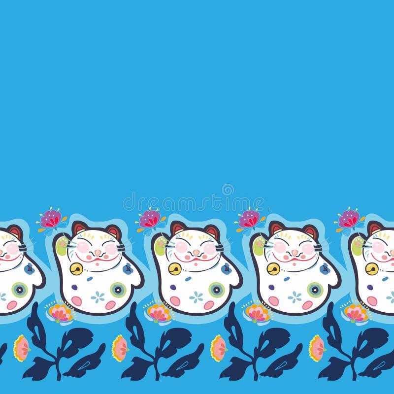 与愉快的猫的蓝色边界和花卉 库存例证