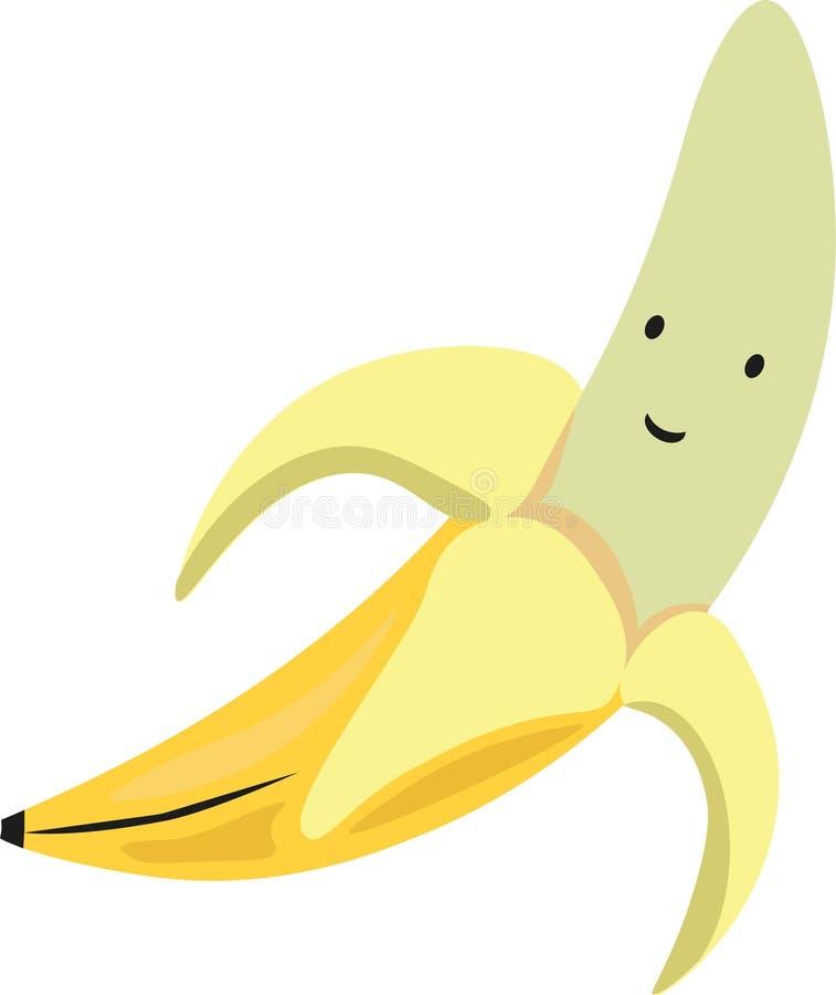 与愉快的眼睛的兴高采烈的滑稽的黄色香蕉 向量例证