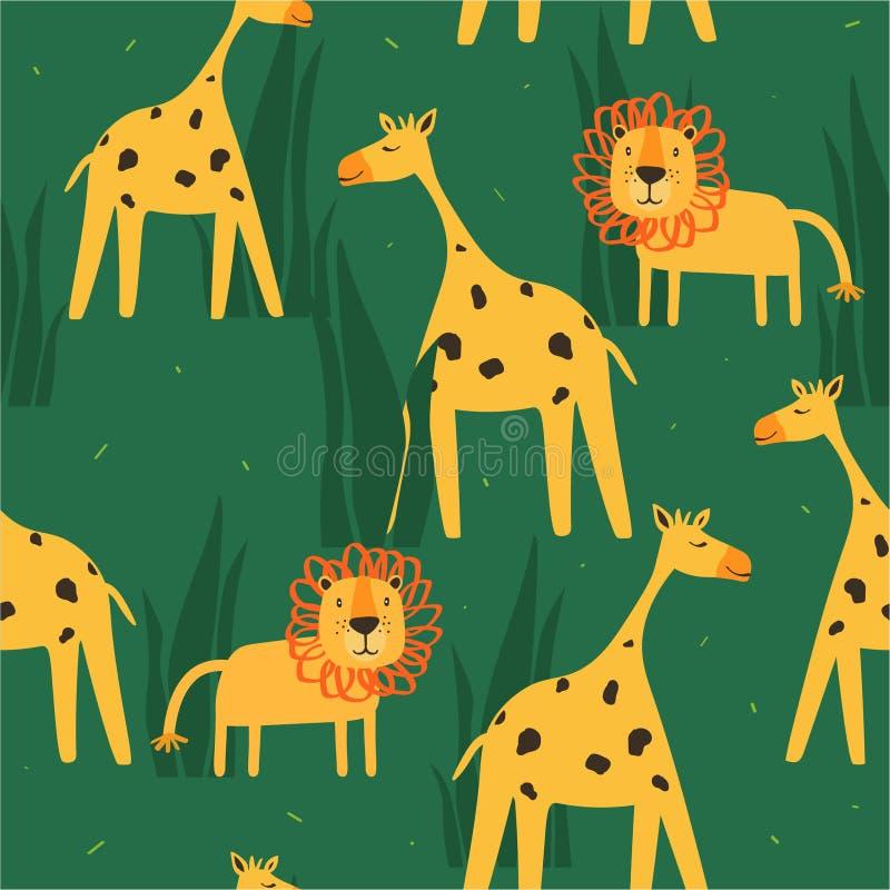 与愉快的长颈鹿,在草的狮子的五颜六色的无缝的样式 与动物的装饰逗人喜爱的背景 库存例证