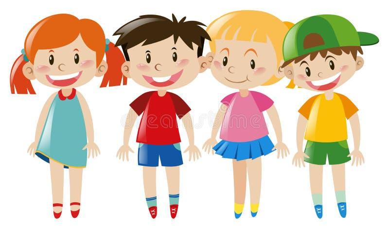 与愉快的面孔的四个孩子 库存例证