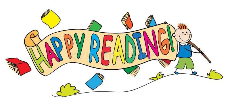 与愉快的读书横幅的孩子 图库摄影