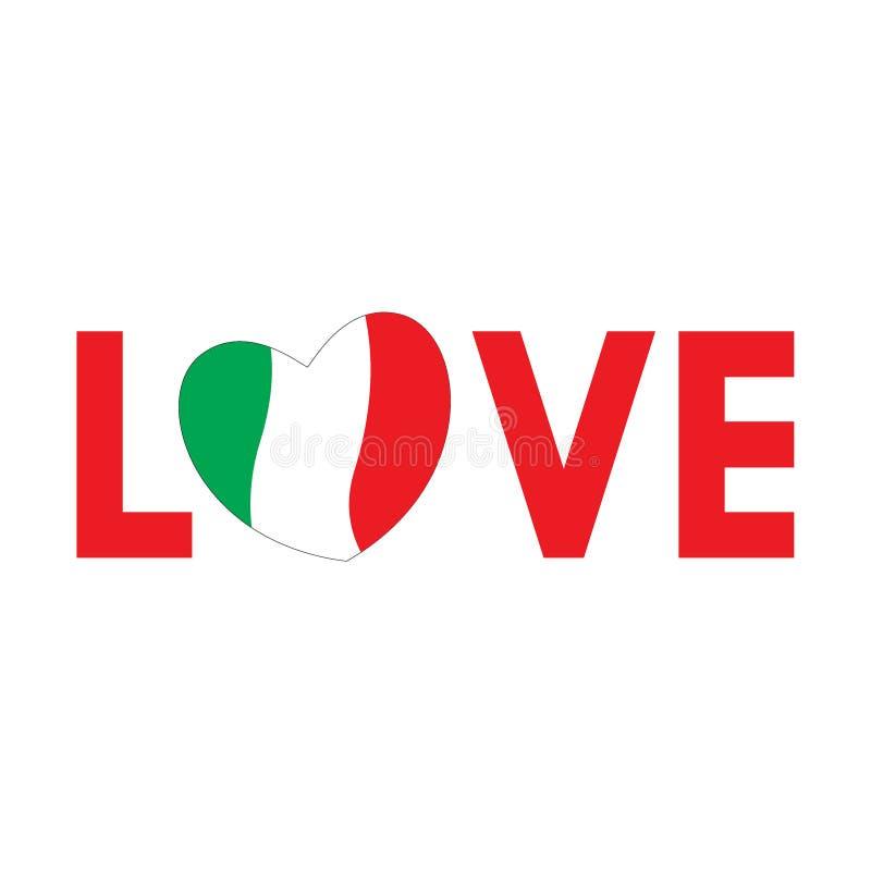 与意大利旗子的词爱 皇族释放例证