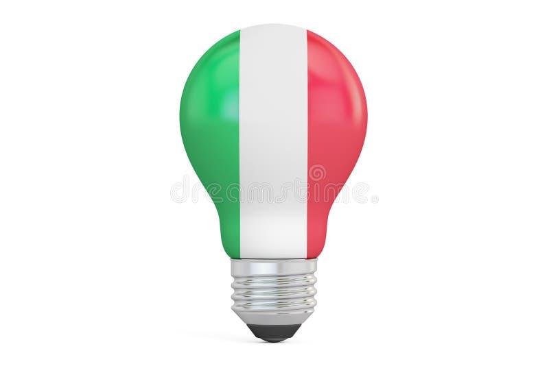 与意大利旗子, 3D的电灯泡翻译 皇族释放例证