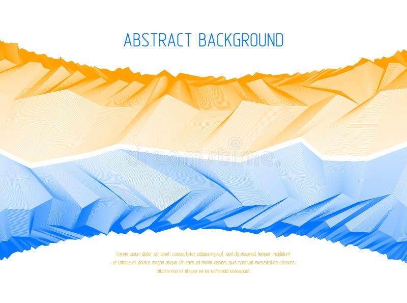 与意想不到的宇宙行星风景,科幻几何线性地形表面的线艺术3d抽象传染媒介背景  皇族释放例证
