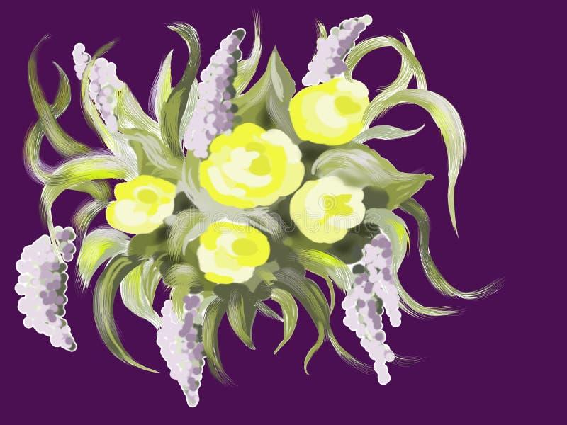 与意想不到的花的构成 向量例证
