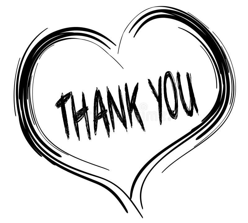 与感谢的速写的黑心脏您发短信 库存例证