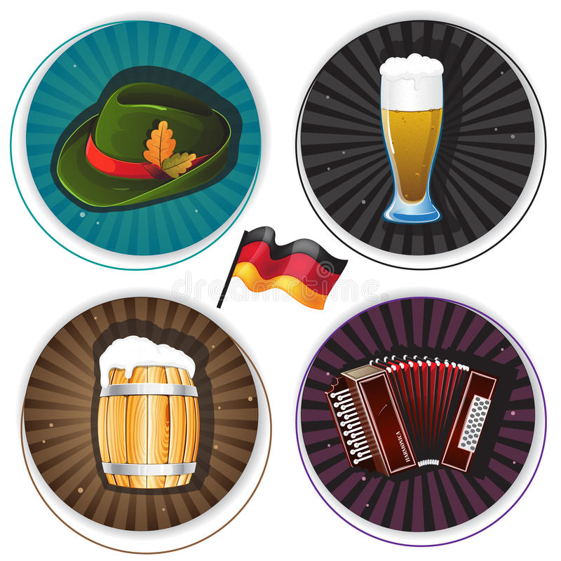 与慕尼黑啤酒节标志的标签 向量例证
