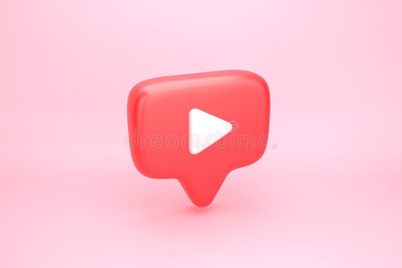 与戏剧录影按钮的红色消息泡影 向量例证