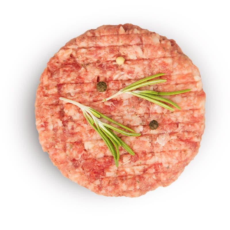 与成份的未加工的肉末烹调的 免版税库存图片