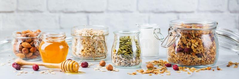 与成份的自创格兰诺拉麦片muesli,健康食品早餐 免版税库存照片