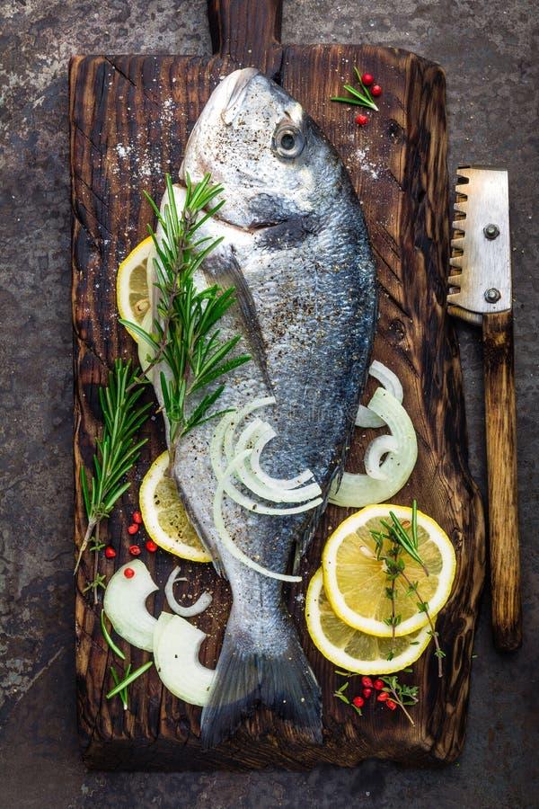 与成份的鲜鱼dorado烹调的在木板 未加工的海鲷或dorada鱼在黑暗的葡萄酒金属化背景 中断 免版税库存图片