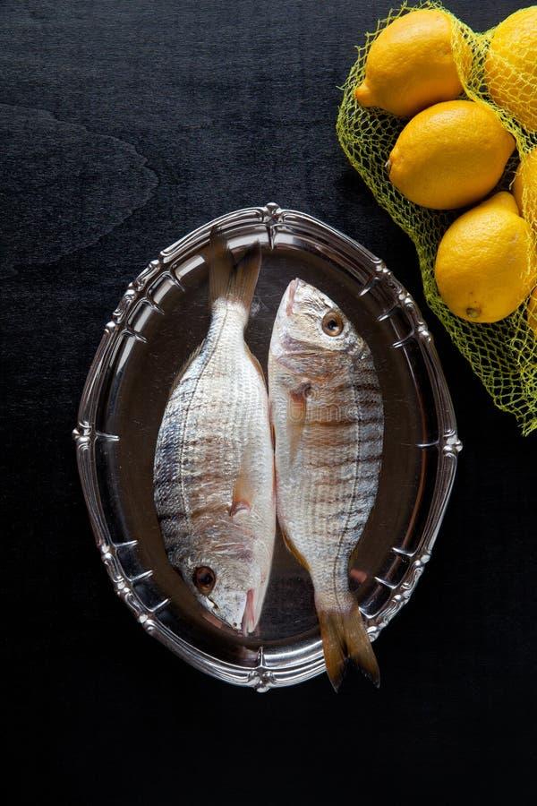 与成份的生鱼 免版税库存图片
