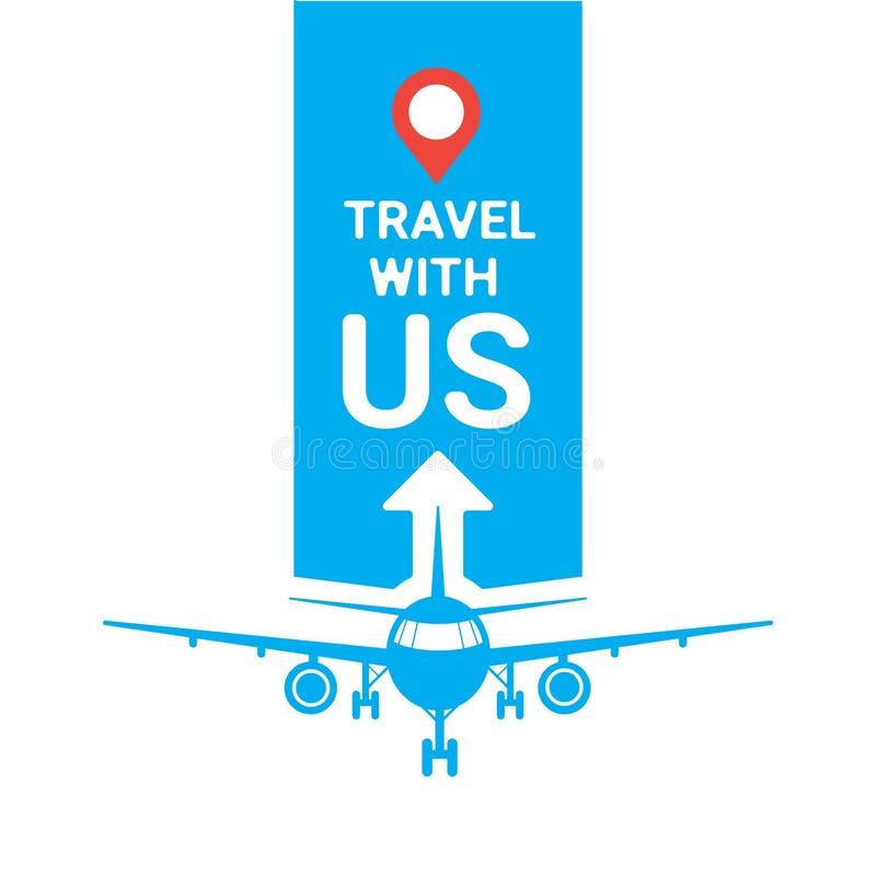 与我们的旅行模板旅行社海报或商标飞机剪影在蓝色背景旅游业概念 库存例证