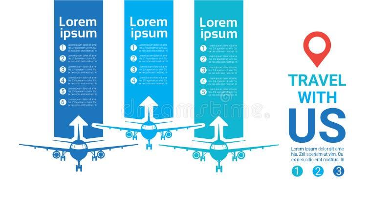 与我们的旅行模板海报在背景的飞机剪影与拷贝空间 向量例证
