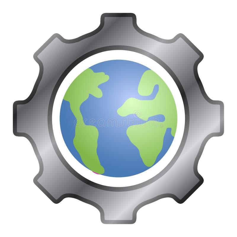 与我们的行星地球的齿轮片断 库存例证