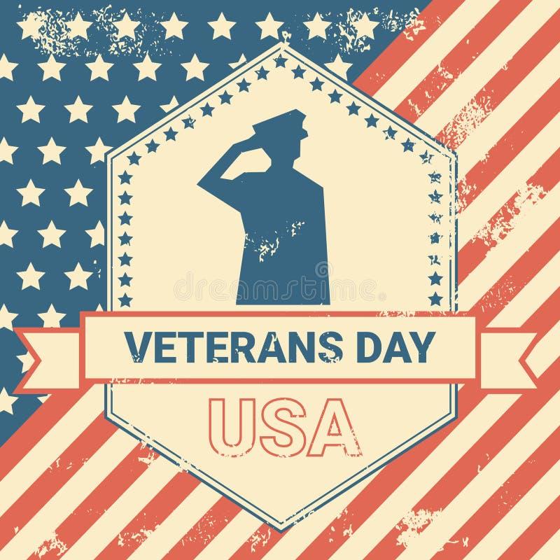 与我们的退伍军人日海报难看的东西美国旗子背景的,国庆节卡片概念军事战士 向量例证