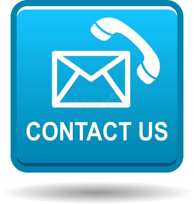 与我们联系按钮蓝色信件分送的象 皇族释放例证