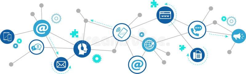 与我们联系!电子邮件,电话,流动,网上,电传和信件象–通信概念:传染媒介例证 皇族释放例证