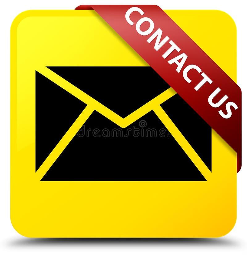 与我们联系(在corne的电子邮件象)黄色方形的按钮红色丝带 向量例证