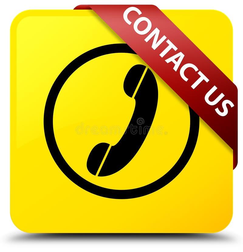 与我们联系(在corne的电话象)黄色方形的按钮红色丝带 向量例证