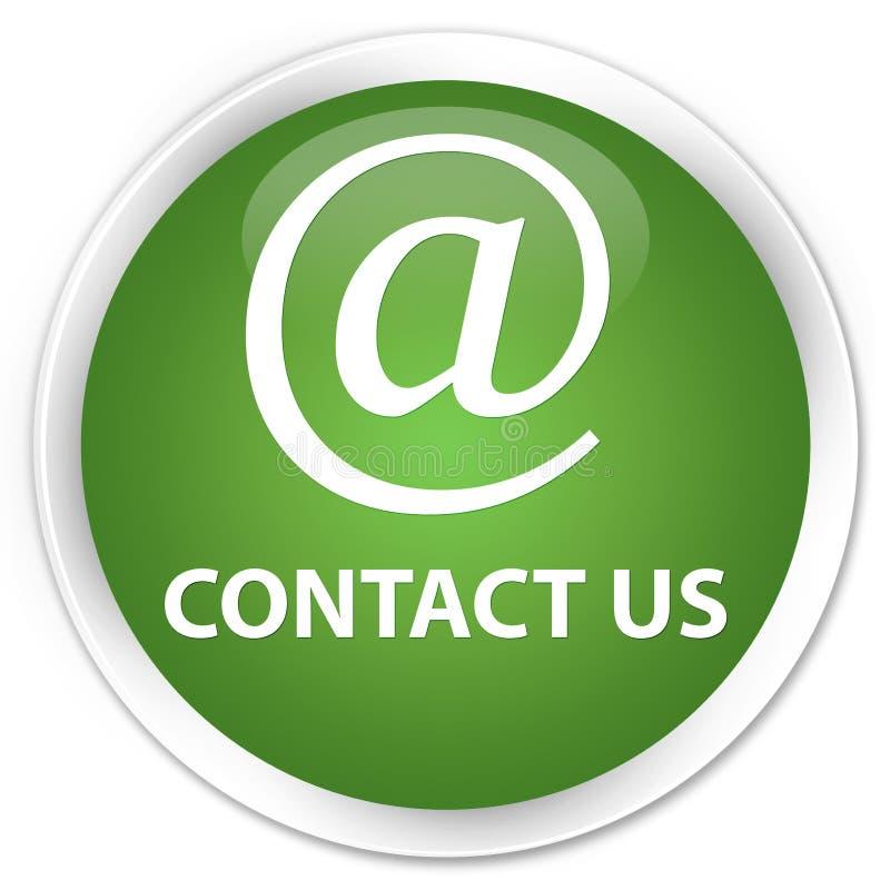 与我们联系(电子邮件象)优质软的绿色圆的按钮 向量例证