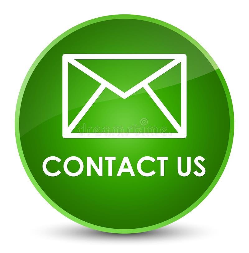 与我们联系(电子邮件象)典雅的绿色圆的按钮 皇族释放例证