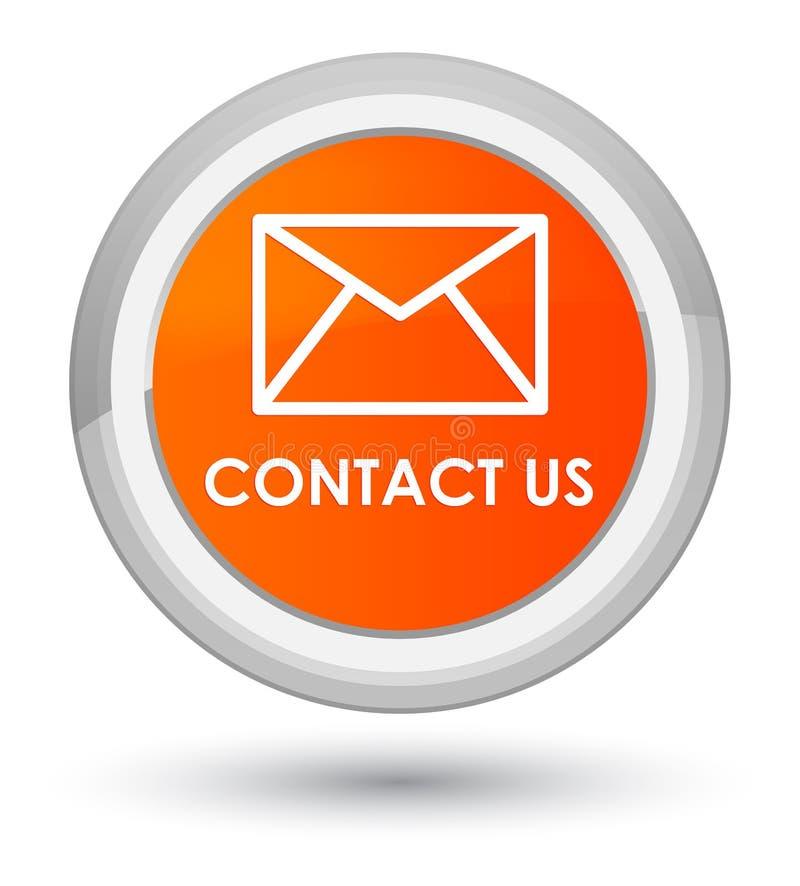 与我们联系(电子邮件象)最初橙色圆的按钮 库存例证