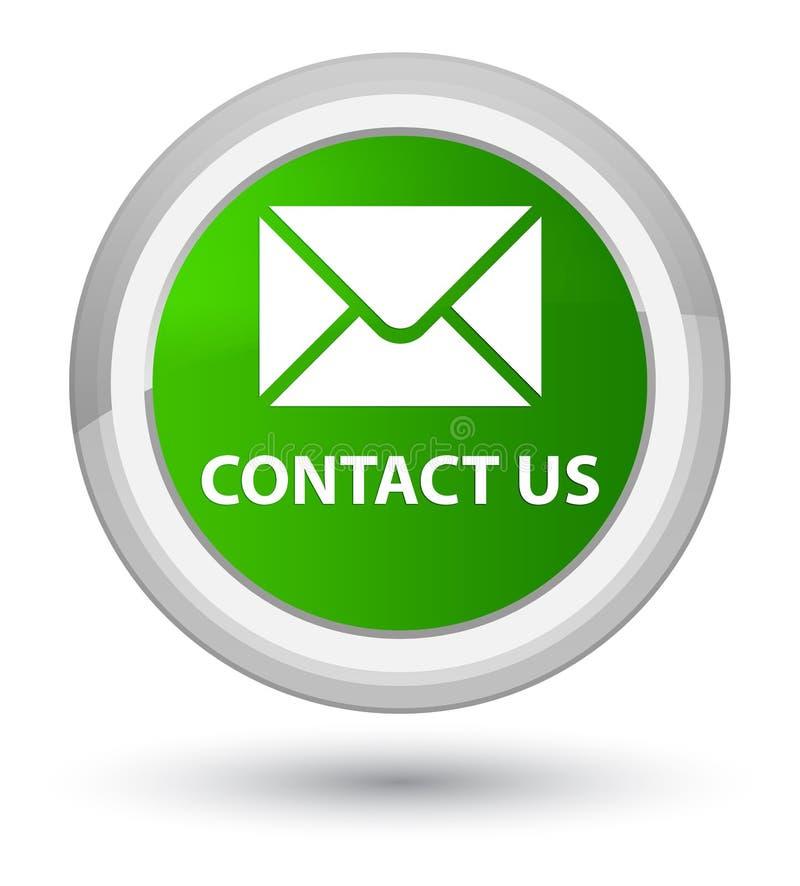 与我们联系(电子邮件象)最初绿色圆的按钮 向量例证