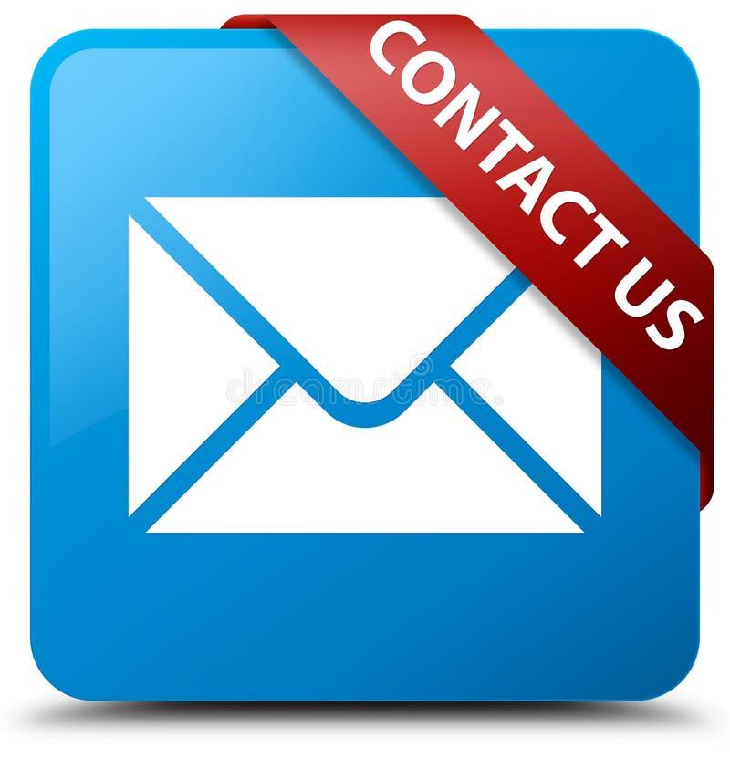 与我们联系(电子邮件象)深蓝蓝色方形的在co的按钮红色丝带 向量例证