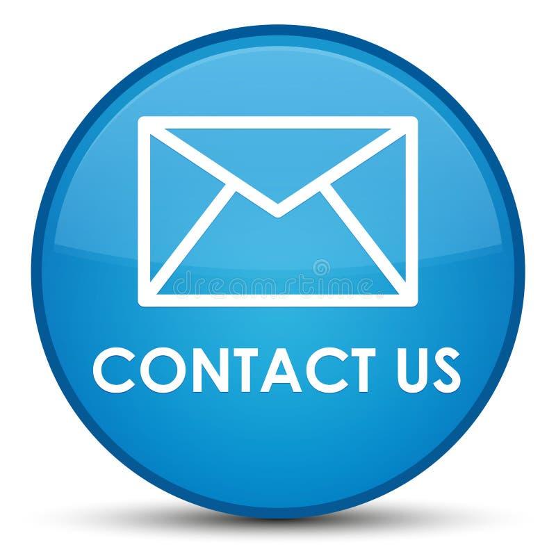 与我们联系(电子邮件象)特别深蓝蓝色圆的按钮 皇族释放例证