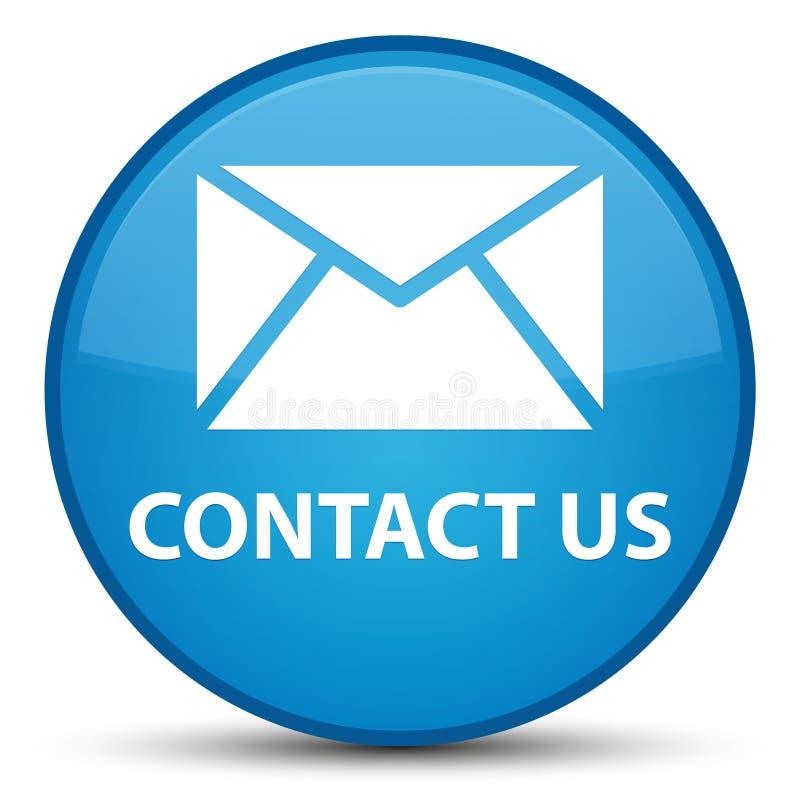 与我们联系(电子邮件象)特别深蓝蓝色圆的按钮 库存例证
