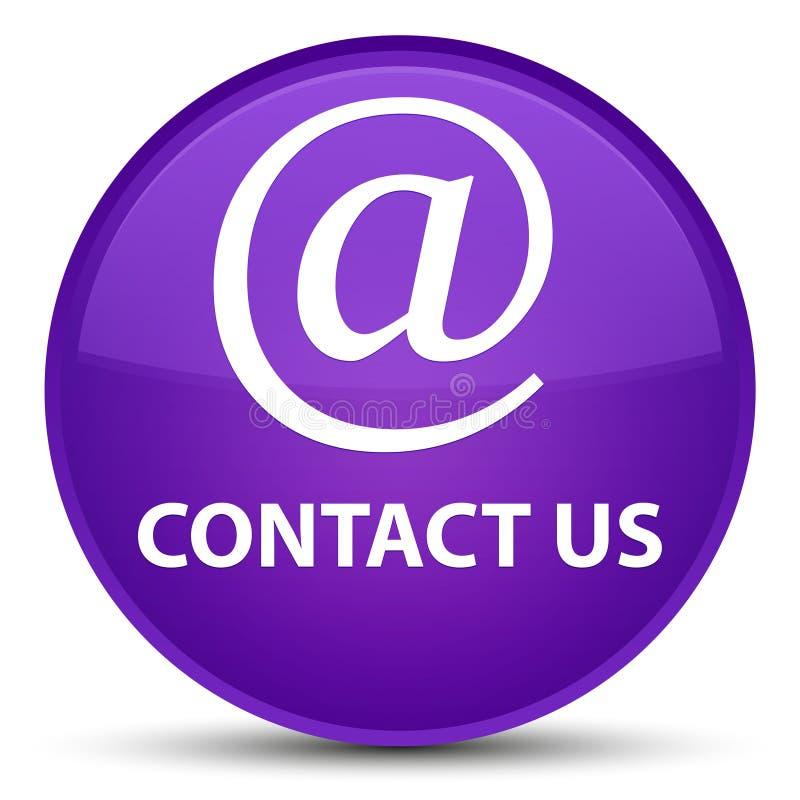 与我们联系(电子邮件象)特别紫色圆的按钮 库存例证