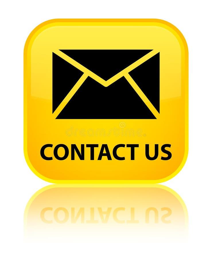 与我们联系(电子邮件象)特别黄色方形的按钮 皇族释放例证