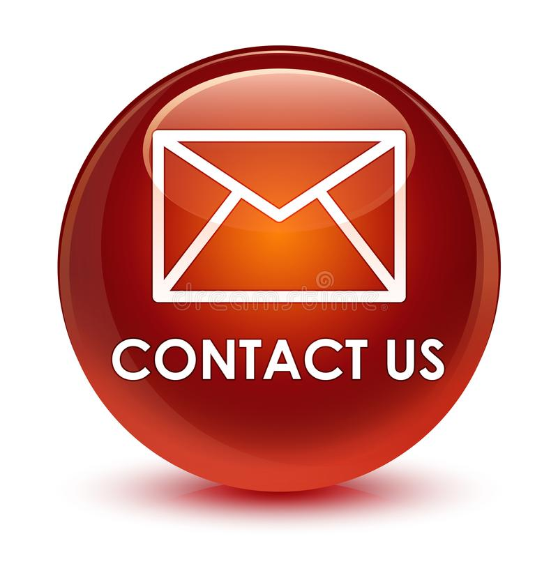 与我们联系(电子邮件象)玻璃状棕色圆的按钮 库存例证