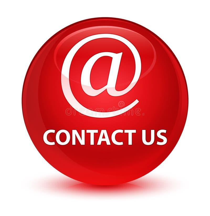 与我们联系(电子邮件象)玻璃状红色圆的按钮 向量例证