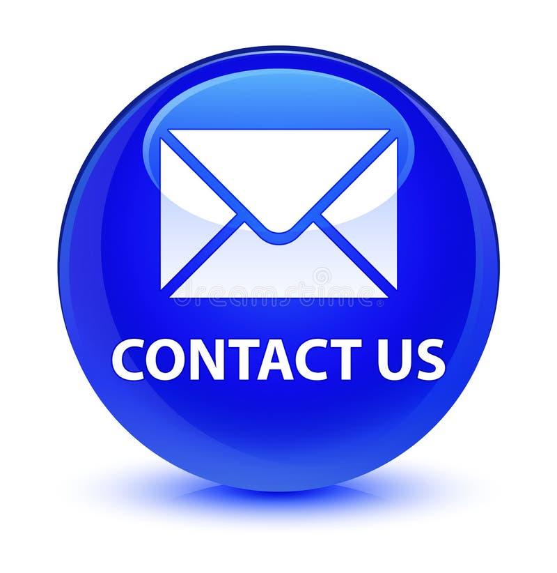 与我们联系(电子邮件象)玻璃状蓝色圆的按钮 库存例证