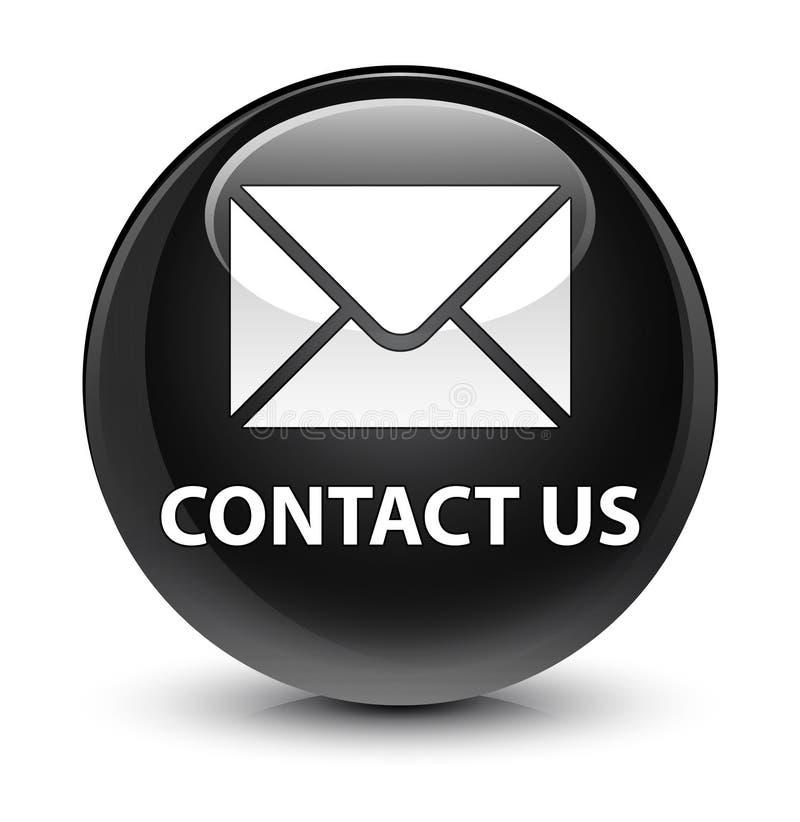 与我们联系(电子邮件象)玻璃状黑圆的按钮 向量例证
