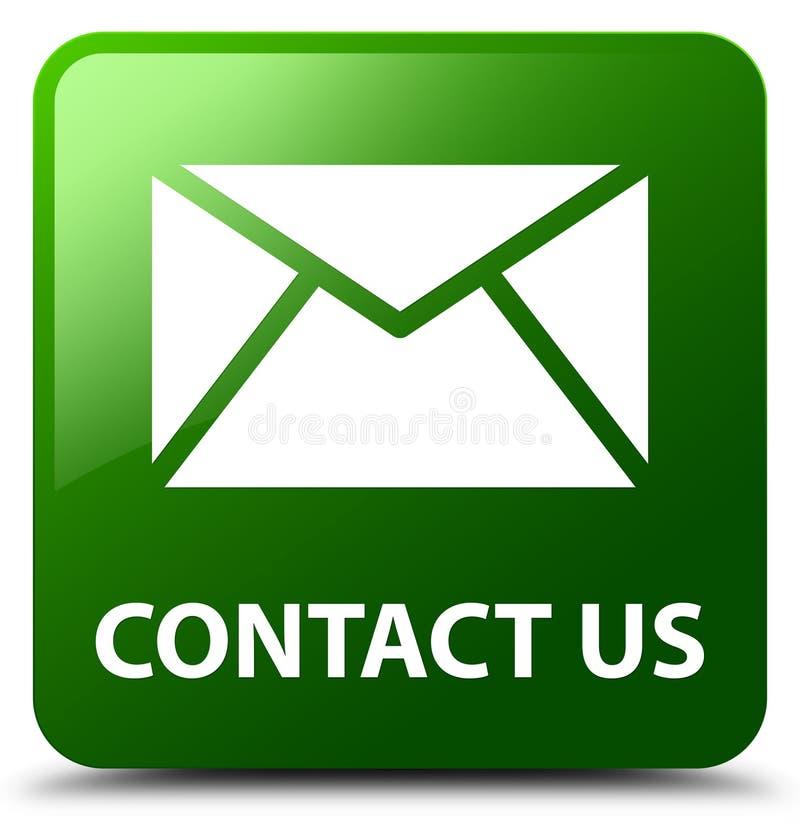 与我们联系(电子邮件象)绿色方形的按钮 皇族释放例证