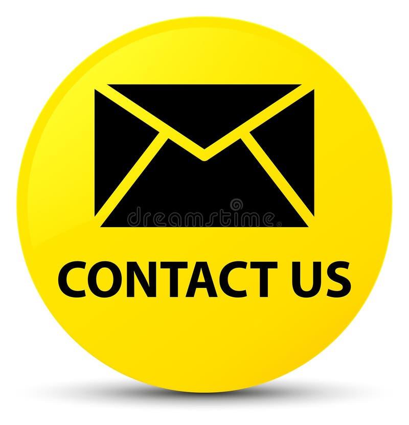 与我们联系(电子邮件象)黄色圆的按钮 库存例证
