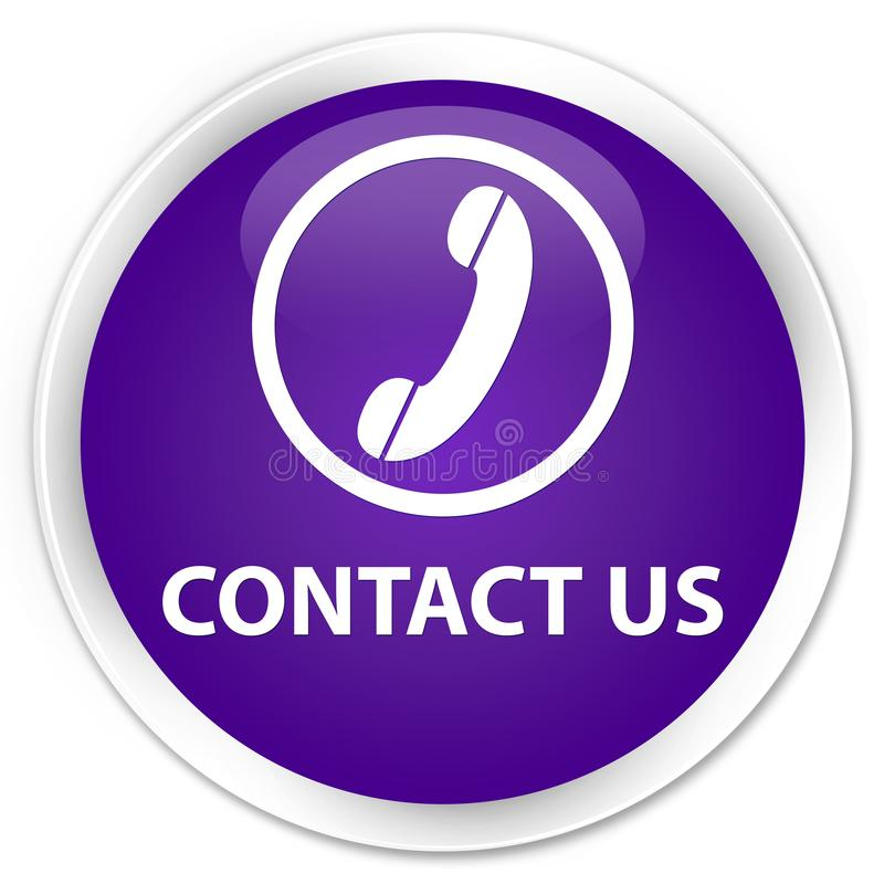 与我们联系(电话象)优质紫色圆的按钮 向量例证