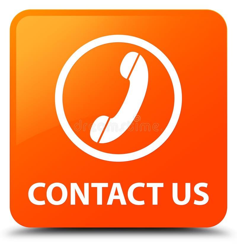 与我们联系(电话象)橙色方形的按钮 库存例证