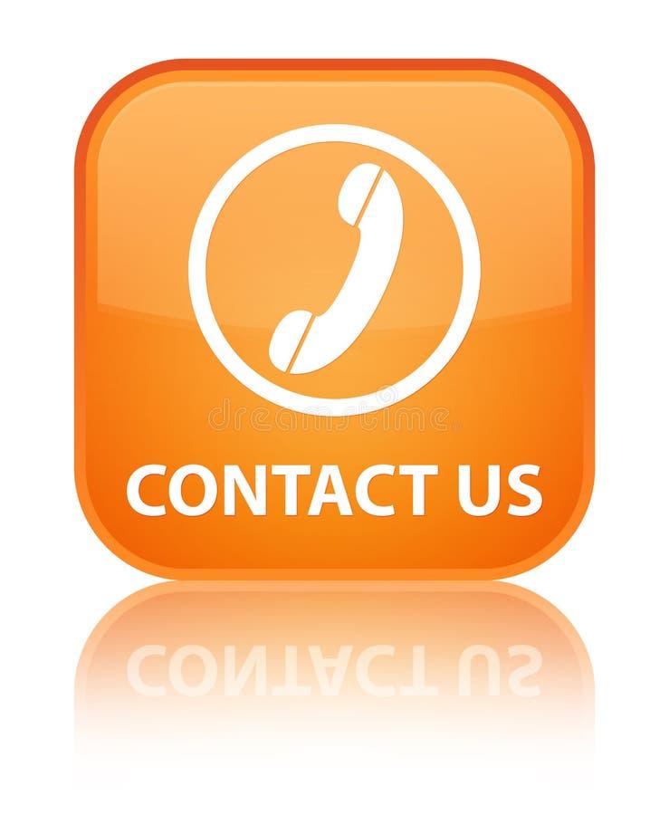 与我们联系(电话象)特别橙色方形的按钮 皇族释放例证