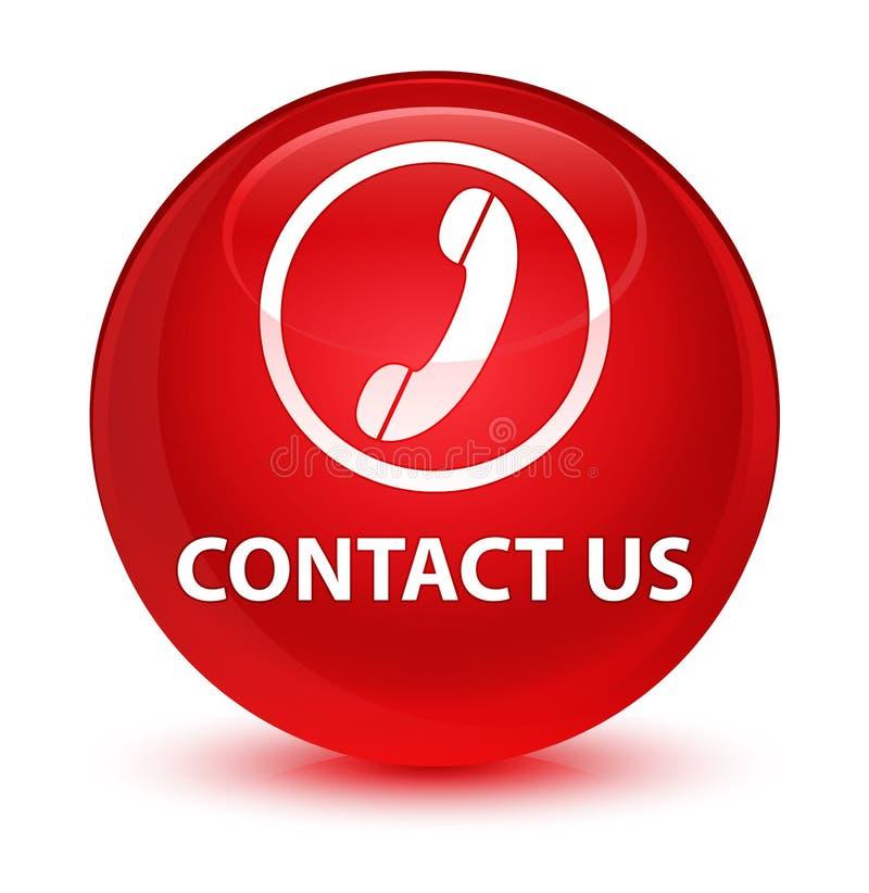 与我们联系(电话象)玻璃状红色圆的按钮 库存例证