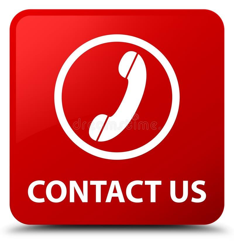 与我们联系(电话象)红场按钮 库存例证