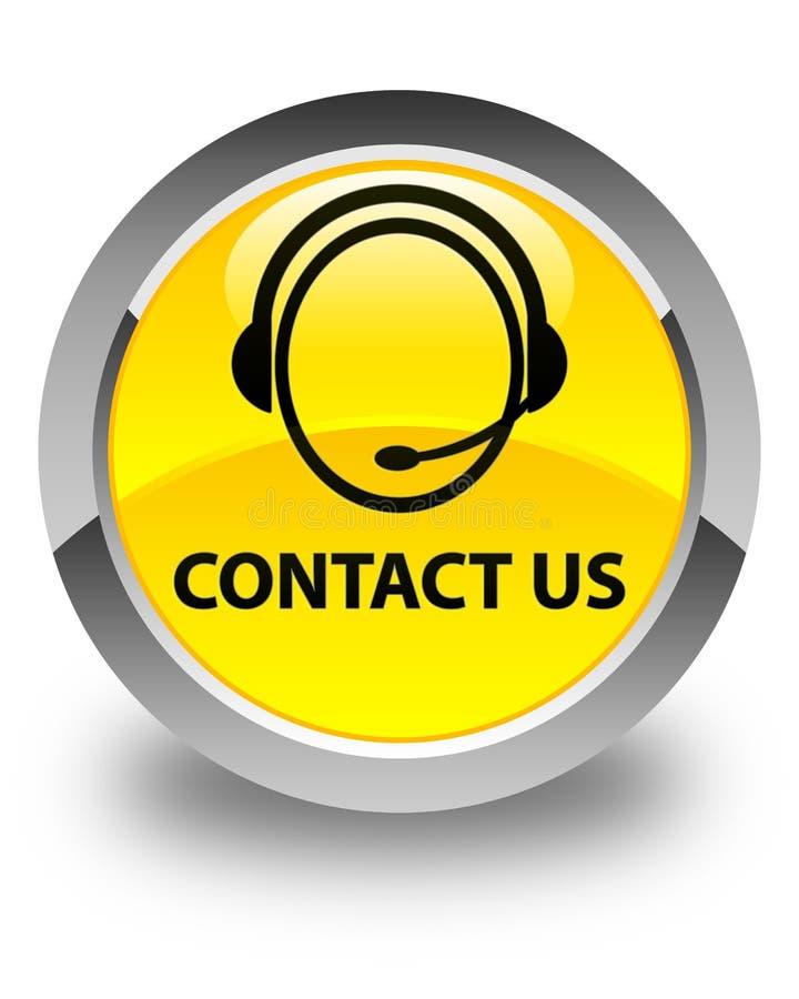 与我们联系(顾客关心象)光滑的黄色圆的按钮 库存例证