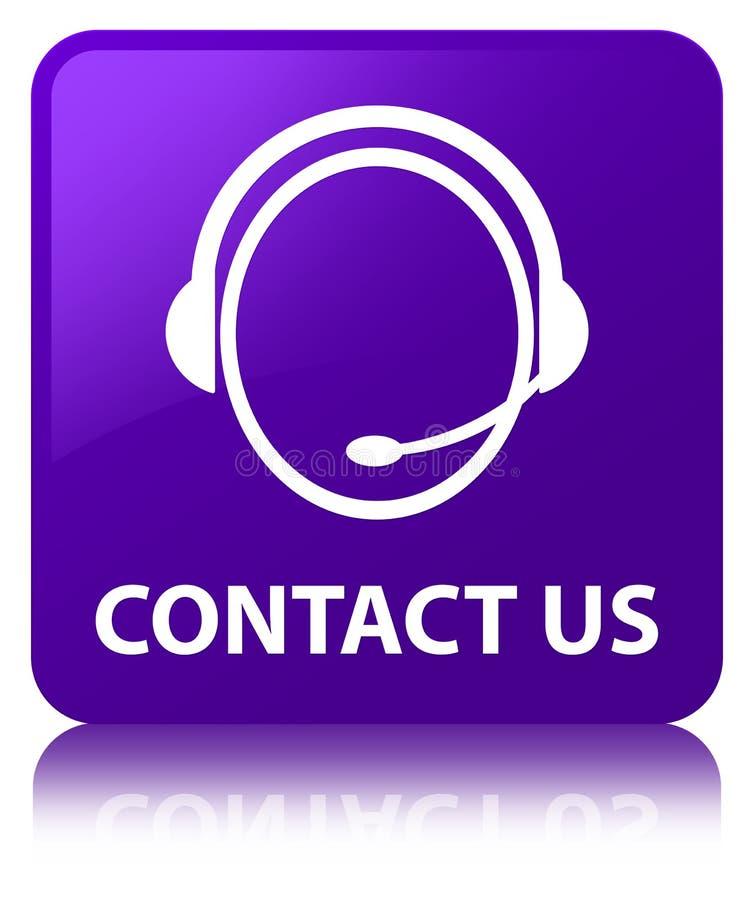 与我们联系(顾客关心象)紫色方形的按钮 库存例证